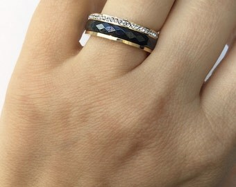 SALE Black Ceramic Rings , CZ Ring ,Micro pave ring , Cute Ring, Stacking ring,black and gold ring