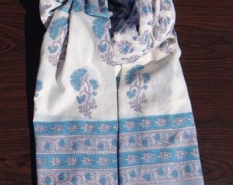 Sanganer Hand Block Print Scarf , Jaipur Block print Beautiful Floral Wrap soft cotton