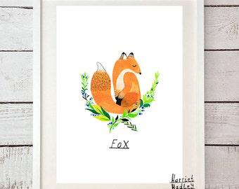 Fox Cute Woodland Print Illustration Home Decor Nursery Art