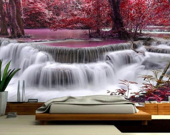 Waterfall wallpaper, river waterfall wall decal, red river, waterfall wall mural, water mural, self-adhesive vinly, waterfall river,