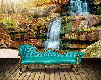Waterfall wallpaper, waterfall river , river wall mural, waterfall wall mural, waterfall forest mural, waterfall wall decal, waterfall