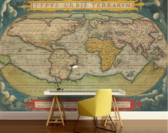 old world map wallpaper, old map wall mural, vintage world map, self-adhesive vinly, world map wall decal, retro world map, unique world map