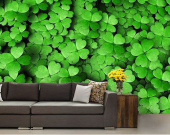 leaf WALL MURAL, leaves wall mural, green wallpaper, forest mural, grin wall mural, vinly wall mural, wall decal, modern wall paper