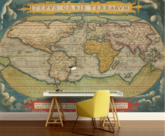 Old world map wallpaper old map wall mural vintage world like this item gumiabroncs Choice Image