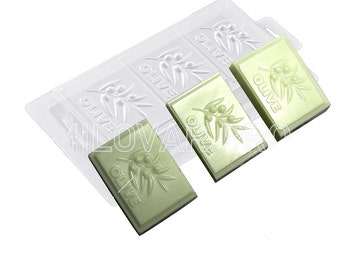 Olive ,Plastic Soap Mold for Cutting,3 Bars of Soap