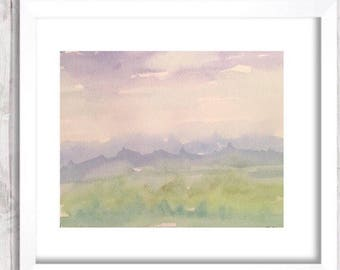Watercolor Mountain landscape Painting, Original Abstract Print, watercolor Landscape nursery art, Blue and green painting, watercolour