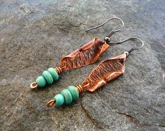Boho earrings, Turquoise earrings, Hammered copper jewelry, Artisan jewelry, Long earrings, Metalwork jewelry
