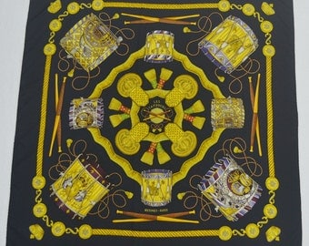 "STUNNING!!! HERMES Vintage HERMES Paris ""Les Tambours"" by Joachim Metz Silk Scarf 100% Authentic Made in France"