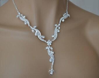 Delicate petals,Rhinestone Jewelry Set, Crystal Wedding Necklace Set, bridal jewelry set, wedding jewelry set, bridesmaid jewelry set.