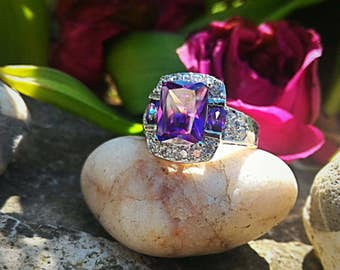 Amethyst ring, size 55 or 7US.