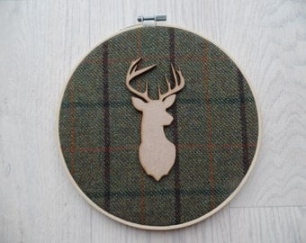 Tweed stag wall hanging