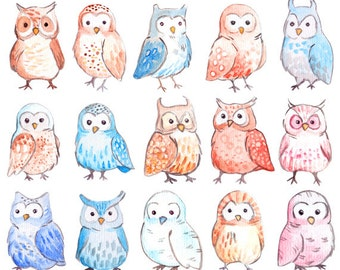 Cute Watercolor Owls clipart. 15 royalty free clip art images for scrapbook, planner, stickers PNG and JPG Instant Download
