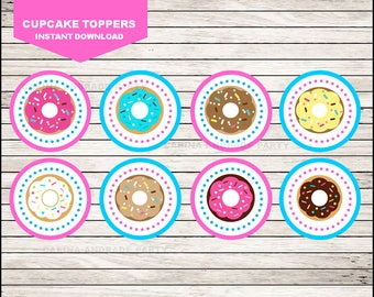 Donut cupcakes toppers instant download, Donut Toppers , Donut Party Toppers