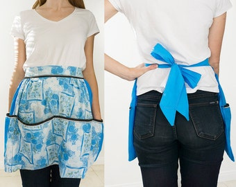 Vintage Half Apron with Blue and White Floral Design and Many Pockets