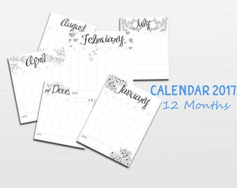 2017 Calendar, Printable Calendar, Seasonal, Printable Monthly Calendar, Printable Calendar Pages, Portrait Calendar, Instant Download