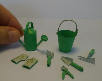 A set of gardening in miniature, paper.