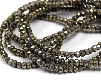 """Two 15.5"""" strands, Pyrite Beads, 4x3mm Rondelle Faceted"""