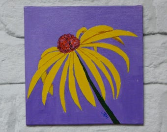 Yellow Coneflower, acrylic painting, small art, gift