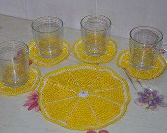 Set of 5 coasters/ Kitchen and home accessory/ Doilies/ Coasters for hot drink
