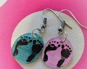 ON SALE Pink and Blue Baby Footprint Charm Dangle Earrings