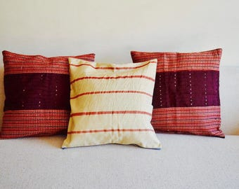 Red Stripes Aso Oke Throw Pillow Covers // 18x18