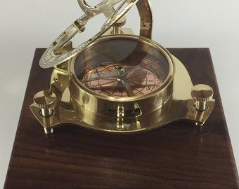 """4"""" Brass Sundial Compass with Copper dial and Robert Frost Poem."""