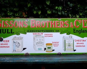 Old Large Sissons Bros & Co Hull Antique Vintage Enamel Advertising Sign c1920s