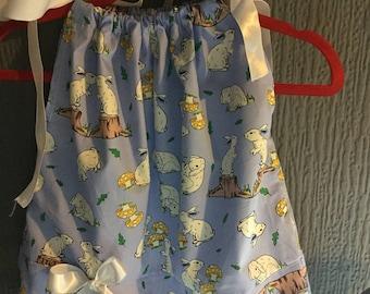 Girls pillowcase dress# rabbits # blue# children's dresses