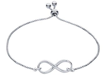 Sterling Silver Box Chain Bracelet with Infinity Link, Adjustable