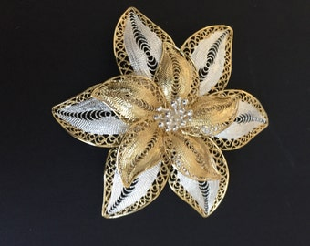 Vintage Sterling Filagree Brooch