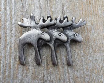 Three Moose Brooch