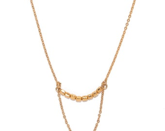 Elegant Beads Gold Necklace, Brass with Light Gold Coating, Acrylic, Made in Japan