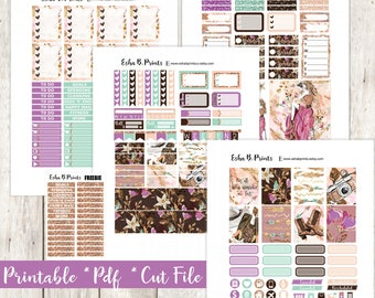 Glam Wanderer Blonde Printable Planner Stickers/Weekly Kit/For Use with Erin Condren/Cutfile Fall September Glam Boho Travel Floral Photo
