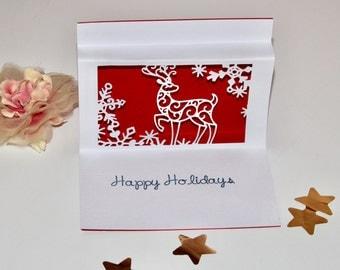 Reindeer pop up Christmas card paper cut