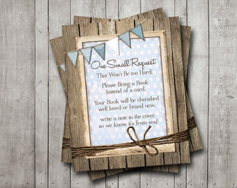 Boy Baby Shower Book Request Instant Download Baby Blue Bunting Banner Rustic Wood Polka Dot Printable Digital File