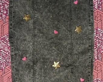 Stonewashed Black Denim Skirt with Embellishments