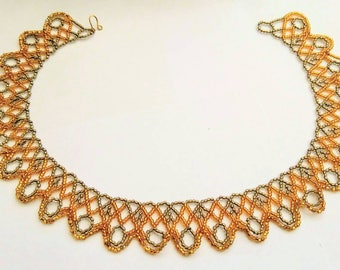 Lace type gold and bronze seed bead necklace