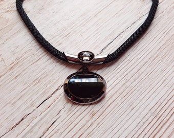Silver and black Oval Pendant Necklace