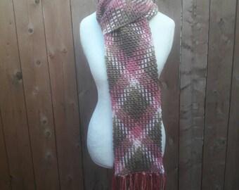 Crochet Argyle Scarf, pink/green