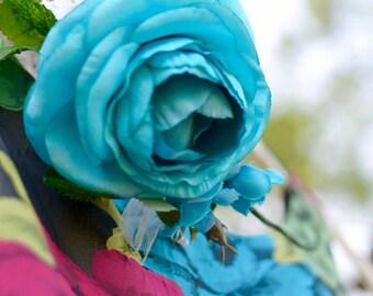 "The ""Jayanne"" floral halo crown // flower crown, turquoise wedding, turquoise flower headband, floral headpiece, floral halo, head wreath"