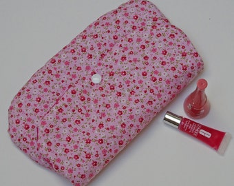 Makeup pouch, pink flowers
