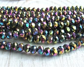6mm titanium rainbow crystal beads, Crystal Glass Beads, Rondelle beads, Crystal beads, beading supplies, faceted beads, multicolor crystal