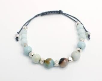 Bracelet ajustable avec billes en pierre d'Agate et pierre de Jade