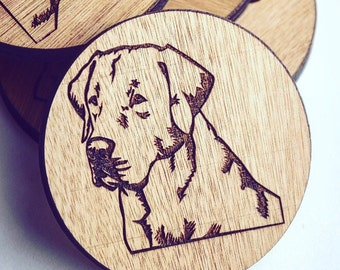 Labrador Wooden Coasters set of 6