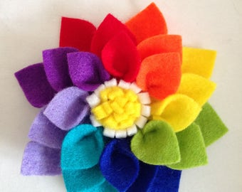 Felt flower brooch/barrette clip-rainbow brooch-rainbow gift-rainbow hair clip