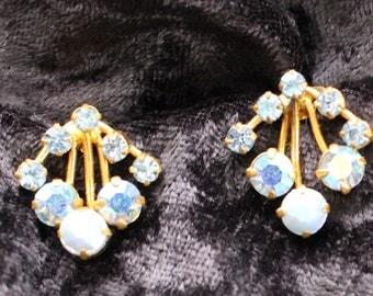 Vintage Gold Tone Aurora Borealis Blue Crystal Clip On Earrings Marked Austria, Likely Swarovski ACE # 107