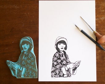 Phryne Fisher - portrayed in linocut - handprinted linoprint