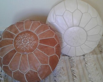Set of 2 Leather poufs, ottoman luxury white and light tan floor poufs, moroccan home decor