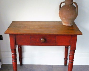 Rustic Antique Pine Side Table Victorian Console Table With One Drawer Vintage Shabby Chic Farmhouse Table Turned Legs & Original Paint