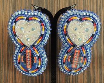 Beaded Heart BLING earrings
